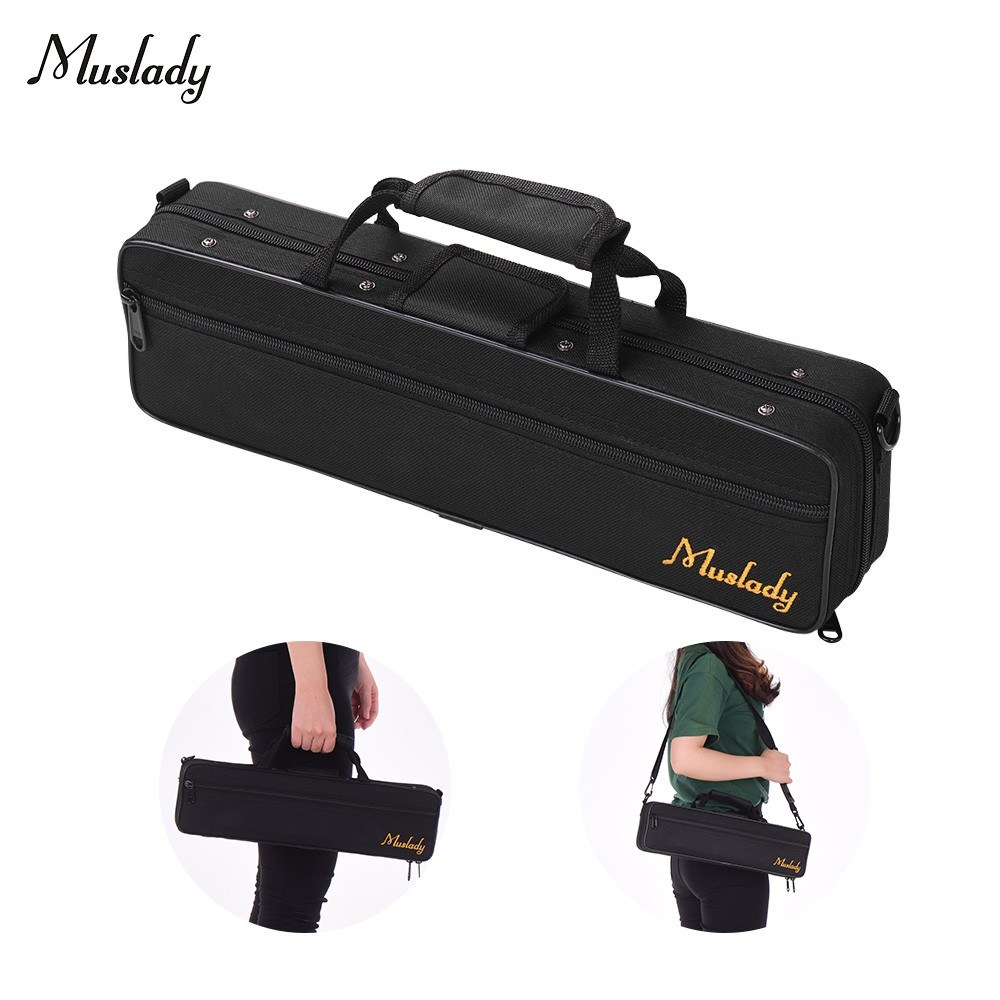 Muslady 16 Holes C Flute Case Gig Bag Backpack Box Water-resistant 600D Cotton Padding with Adjustable Strap Top Carry Handle Cleaning Cloth