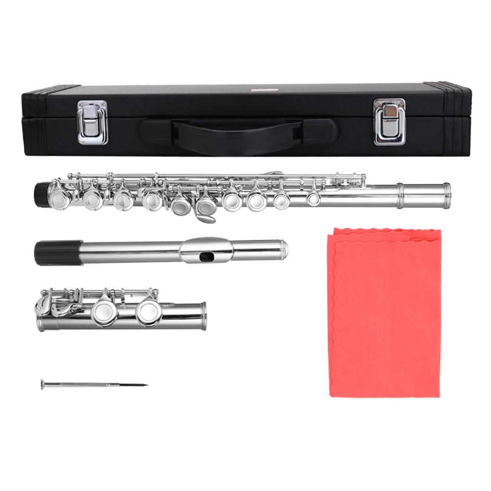 16 Holes C Key Flute Nickel Plating Flutes for Beginner Band Performance Grading Test Woodwind Instrument