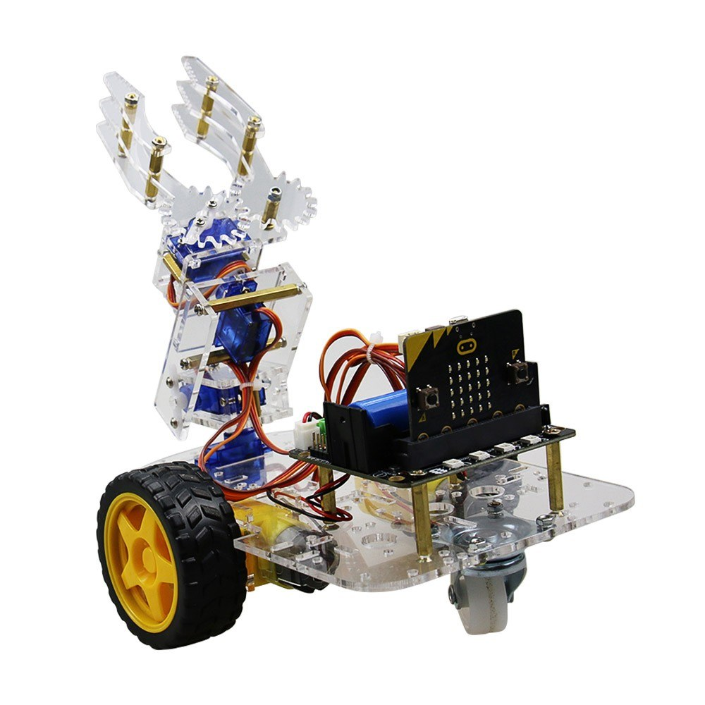 Micro:bit Mechanical Arm Smart Robot Car DIY Kit Support Graphical Programming STEM Educational Toy with BT for Children Students Adults