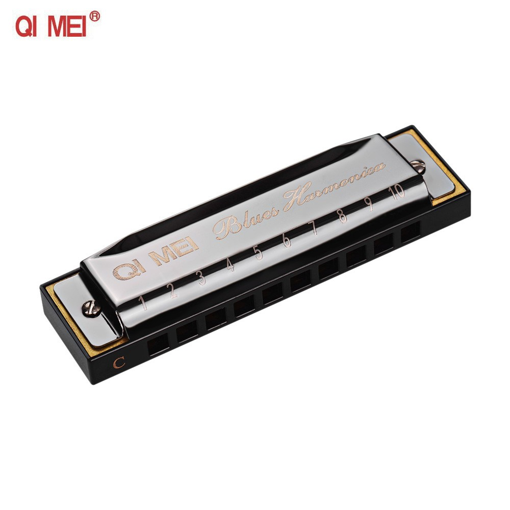 QI MEI 1020 Blues Harmonica Key of C 10 Holes 20 Tunes Diatonic Harp Mouthorgan with Cleaning Cloth and Storage Box Black