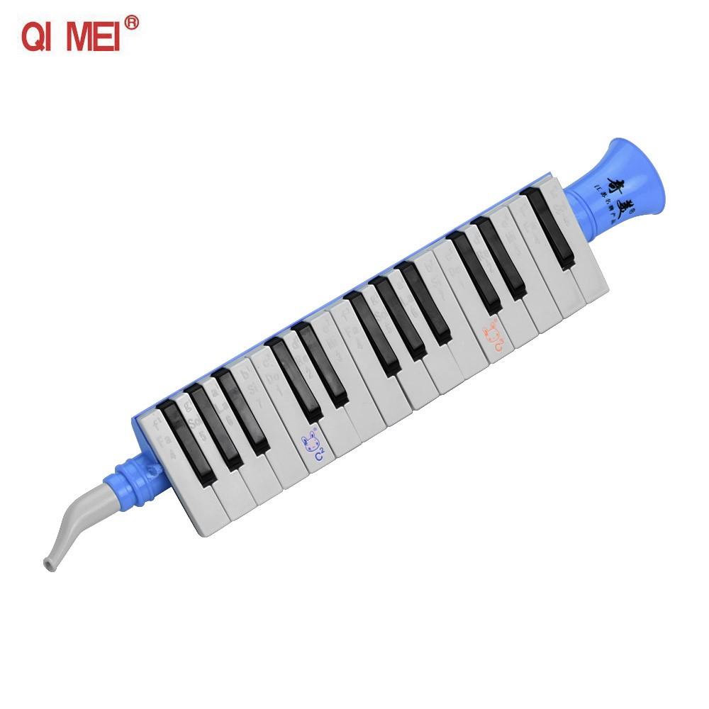 QI MEI QM27A 27 Keys Keybokard Harmonica Portable Melodica Musical Education Instruments for Beginners Students Blue
