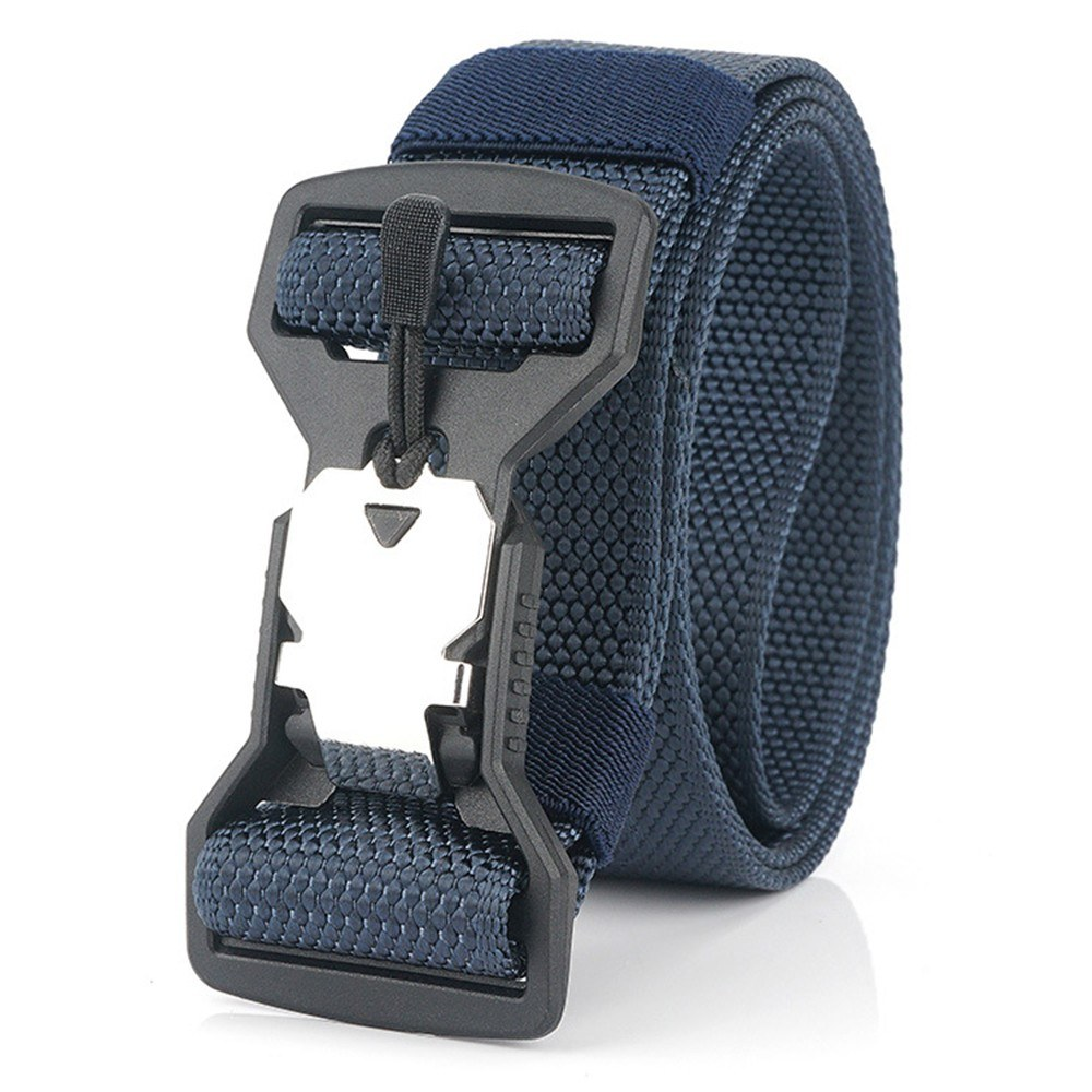 Adjustable Webbing Belt Men Women Belts 49.2 Inch with Quick Release Magnetic Buckle for Camping Hiking