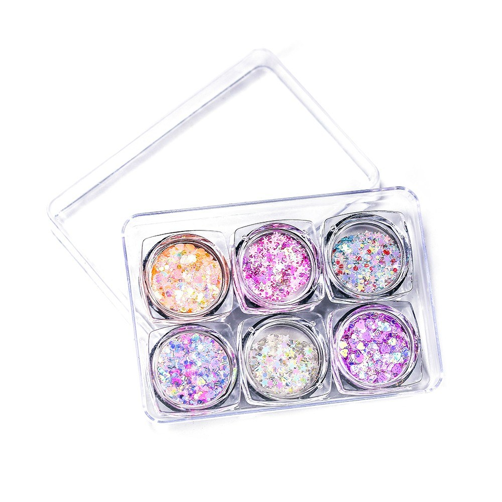 6 Colors/Set Eyes Glitter Sequins Iridescent Flakes Shiny Gel Cosmetic Chunky Glitter for Eye Shadow Body Nail Lips Face Hair Glitter Sequins