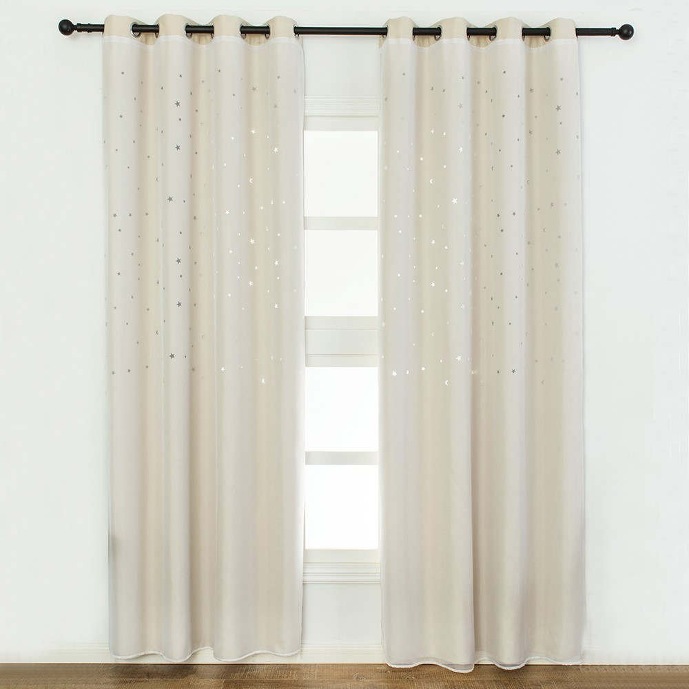 Blackout Curtains Star Shape Hollow Double Layer Cloth Yarn Combination Thermal Insulating Room Darkening Curtains 39