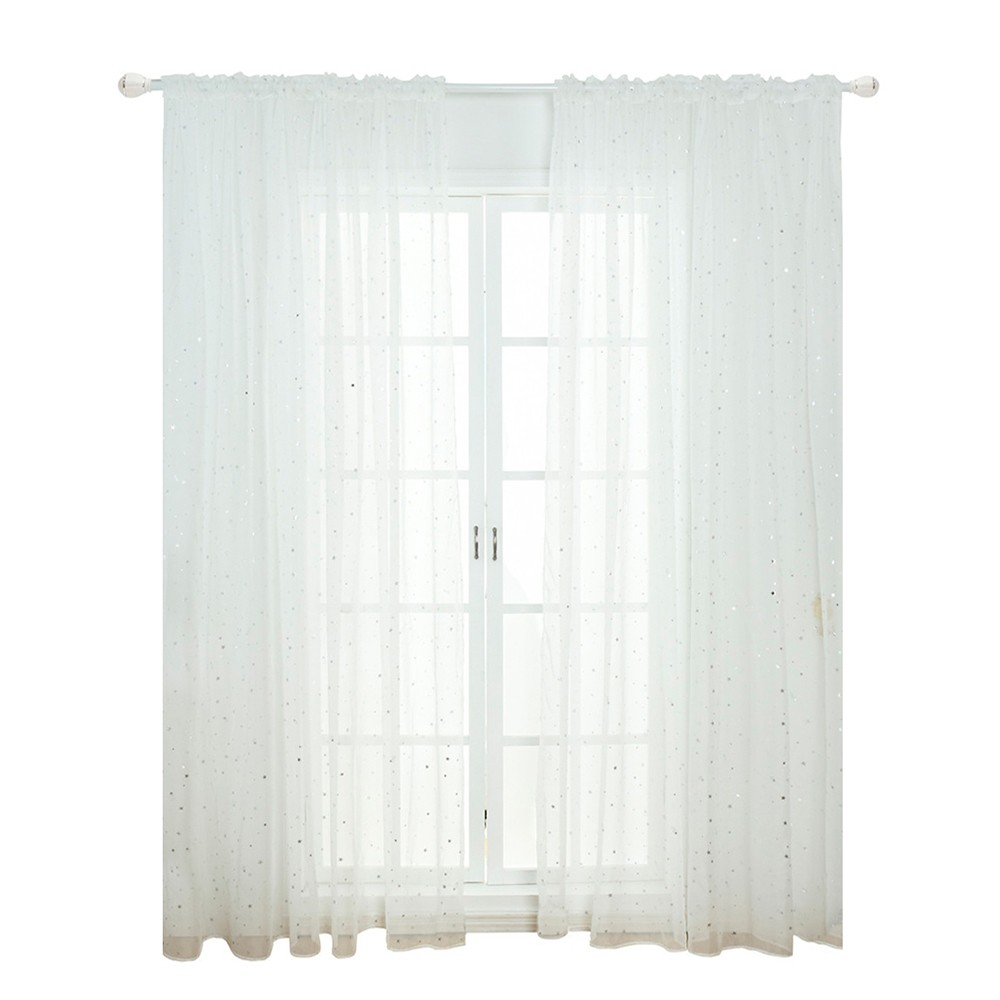 Sheer Curtains Little Star Print Window Screen Curtains for Living Room Dining Room office Hotel 1 Panel 40