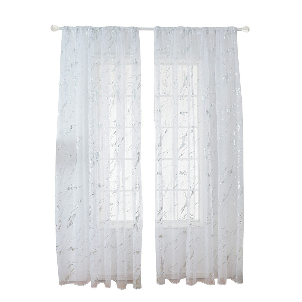 Sheer Curtains Marble Print Window Screen Curtains for Living Room Window Patio Door 1 Panel 40