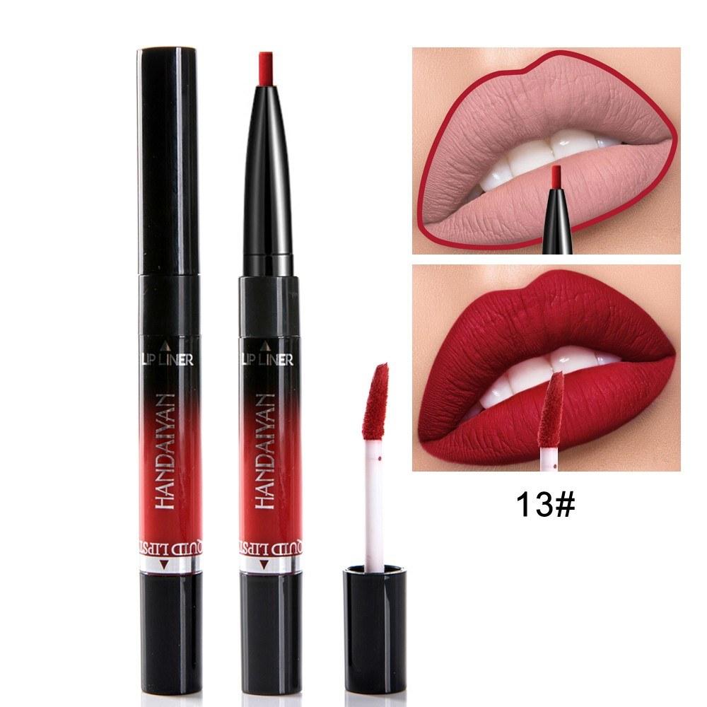 HANDAIYAN Matte Double-end Lip Liner Liquid Lipstick Waterproof Lip Pen for Women Girls Lip Makeup