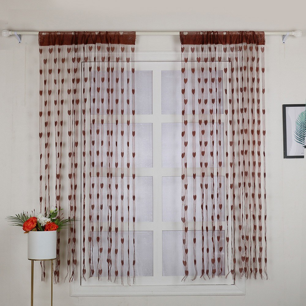 2Pcs 100*200cm Novelty Heart Decor Window Room Line Curtain Romantic String Tassel Door Curtain Divider Room Wall Decoration