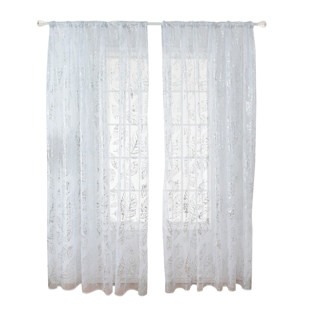 Sheer Curtains Feather Print Window Screen Curtains for Living Room Window Patio Door 1 Panel 40