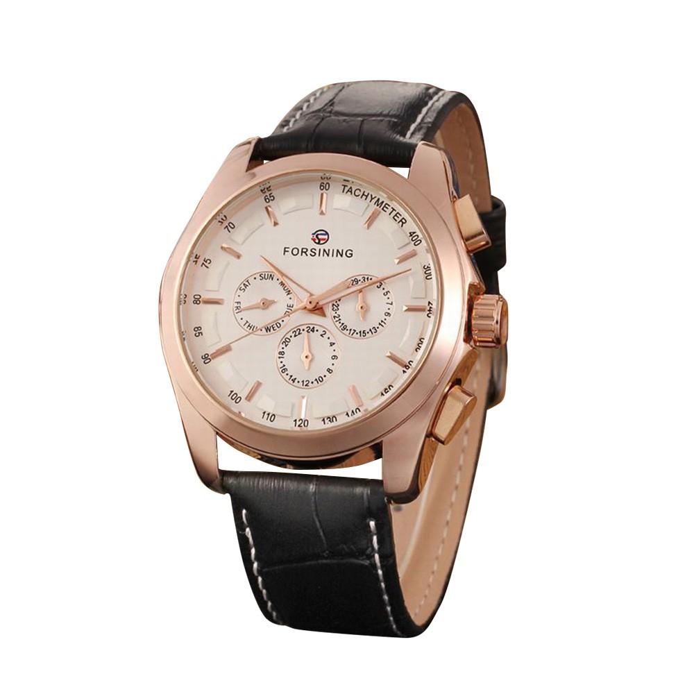 FORSINING Fashion Calendar Date Week Leather Band Watch Men Automatic Mechanical Wristwatch