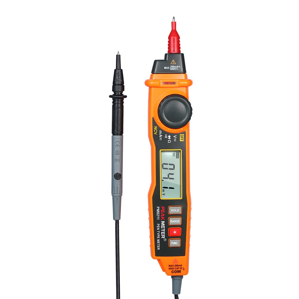 PEAKMETER Handheld Multimeter Backlight LCD Display Pen Type Digital Multimeter DC/AC Voltage Current Meter with NCV and Auto Ranging Resistance Diode Continuity Tester