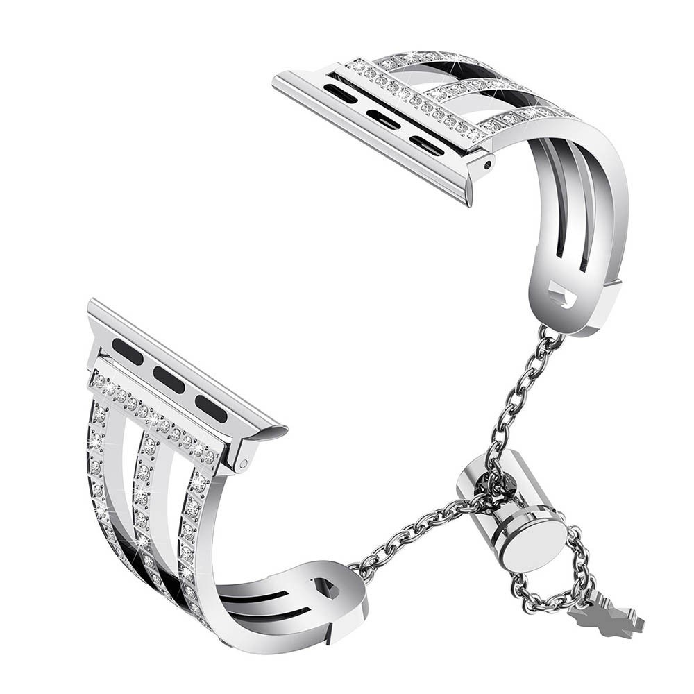 Three-row Diamonds Adjustment Chain Metal Alloy Stainless Steel Strap Watchband Replacement Smart Watch Accessory