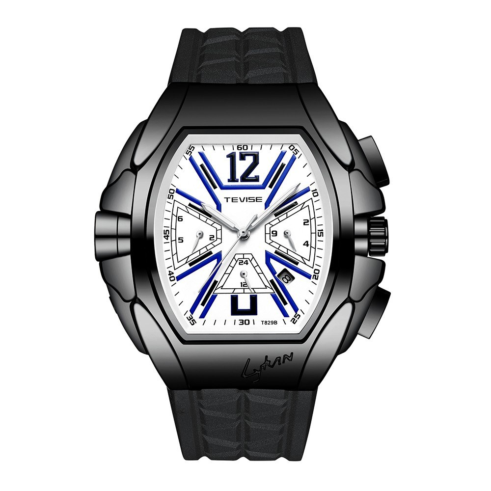TEVISE T829B Man Automatic Watch Weekly Monthly Dial Calendar Display Silicon Watchband Male Mechanical Wristwatch