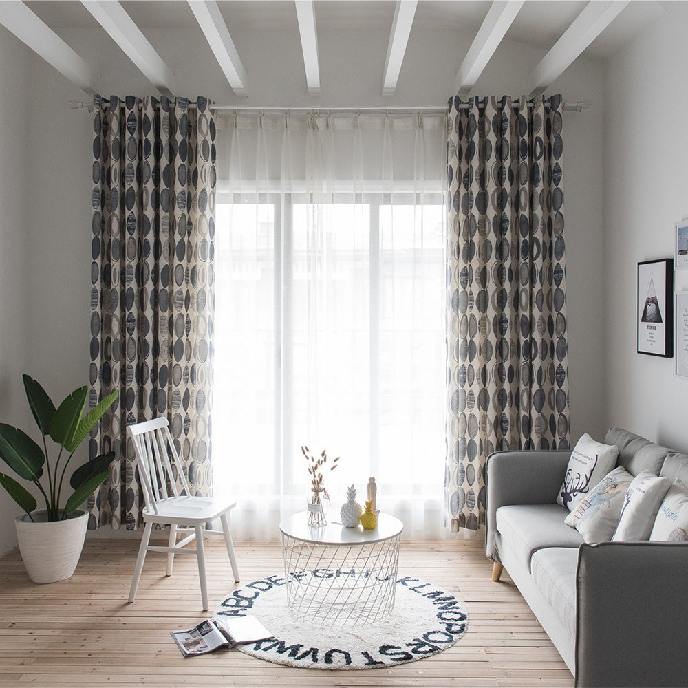 Fashionable Simple Circles Pattern Curtain Living Room Bedroom Balcony Kitchen Hotel Window Decorative Curtain