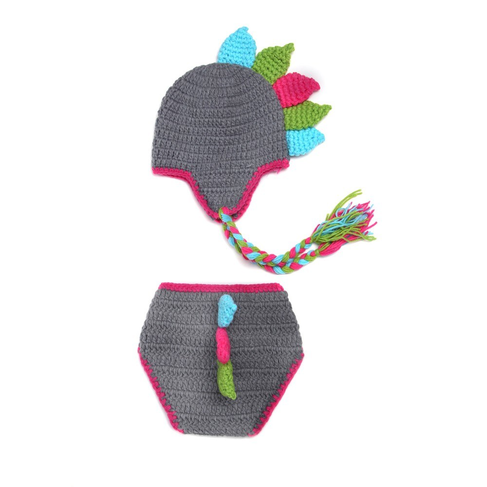Newborn Baby Photography Props Girl Boy Dinosaur Costume Outfits Hat Pants Photo Shoot Prop Accessories Grey