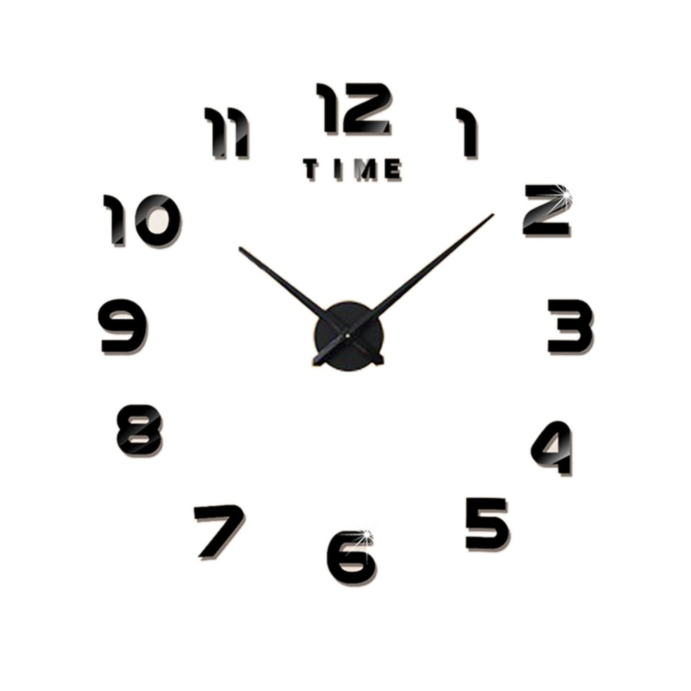 DIY Wall Clock Frameless 3D Mirror Wall Clock Large Mute Wall Stickers for Living Room Home Decorations