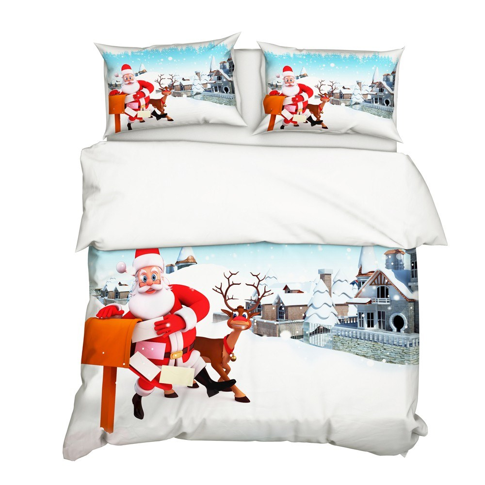 3Pcs/Set Christmas Style 3D Santa Claus & Elk Printed Pattern Duvet Cover with 2Pcs Pillowcases Bedroom Bedding Set Bedclothes
