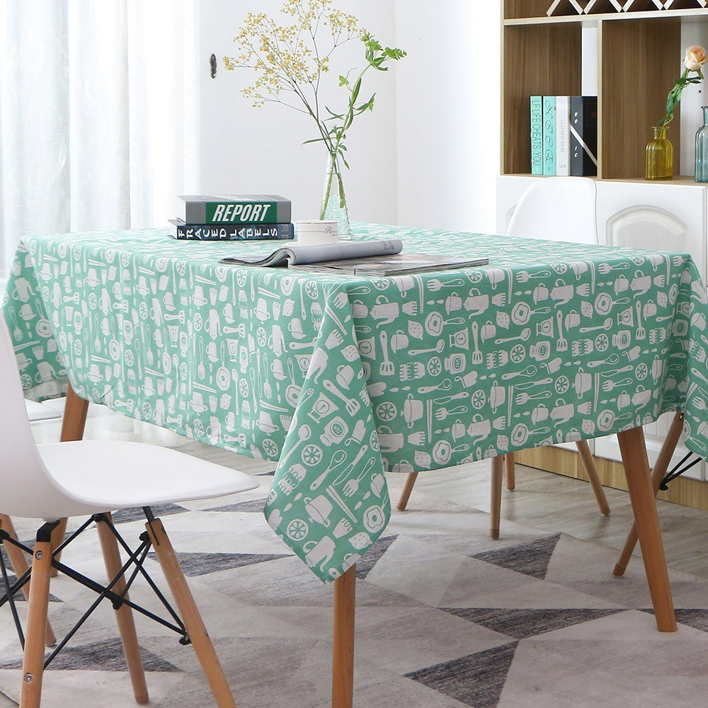 Tablecloth, Rectangle Table Cloth Cotton Linen Wrinkle Free Anti-Fading Tablecloths Washable Dust-Proof Table Cover for Dining Kitchen (Rectangle/Oblong, 55''x70'',4-6 Seats)