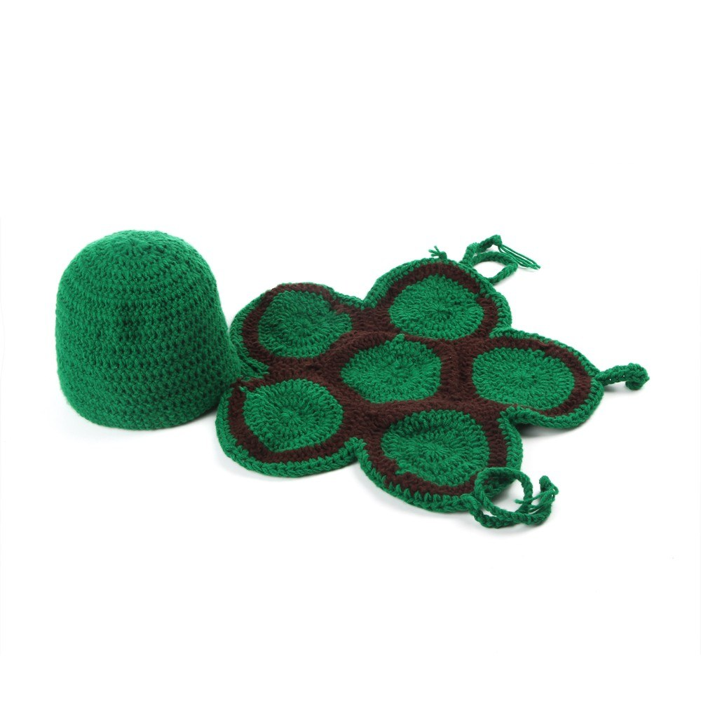 Newborn Baby Photography Props Girl Boy Cute Turtle Costume Outfits Knit Tortoise Shell Photo Shoot Prop Accessories Dark green
