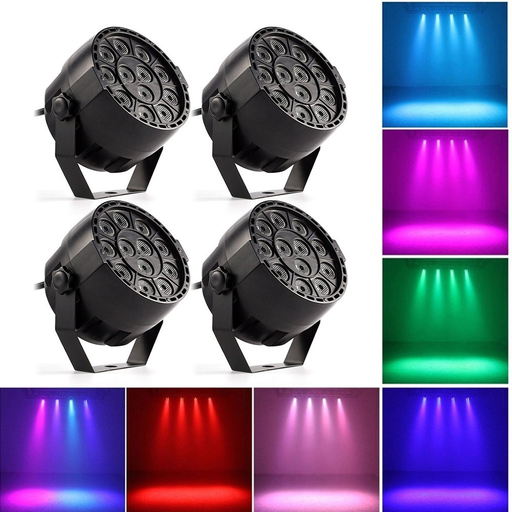 LED Stage Light Lamp RGBW PAR Lights 12pcs LEDs 12W Sound-activated Auto DMX512 Disco Light for DJ Party Wedding Club Pub KTV, Pack of 4 Lights