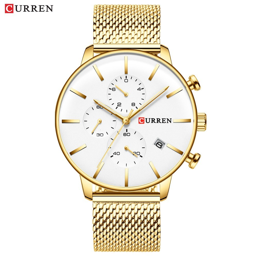 CURREN 8339 Men Quartz Watch Stainless Steel Band Fashion Multifunction Wristwatch 3ATM Luminous Display Chronograph Calendar Date Watches