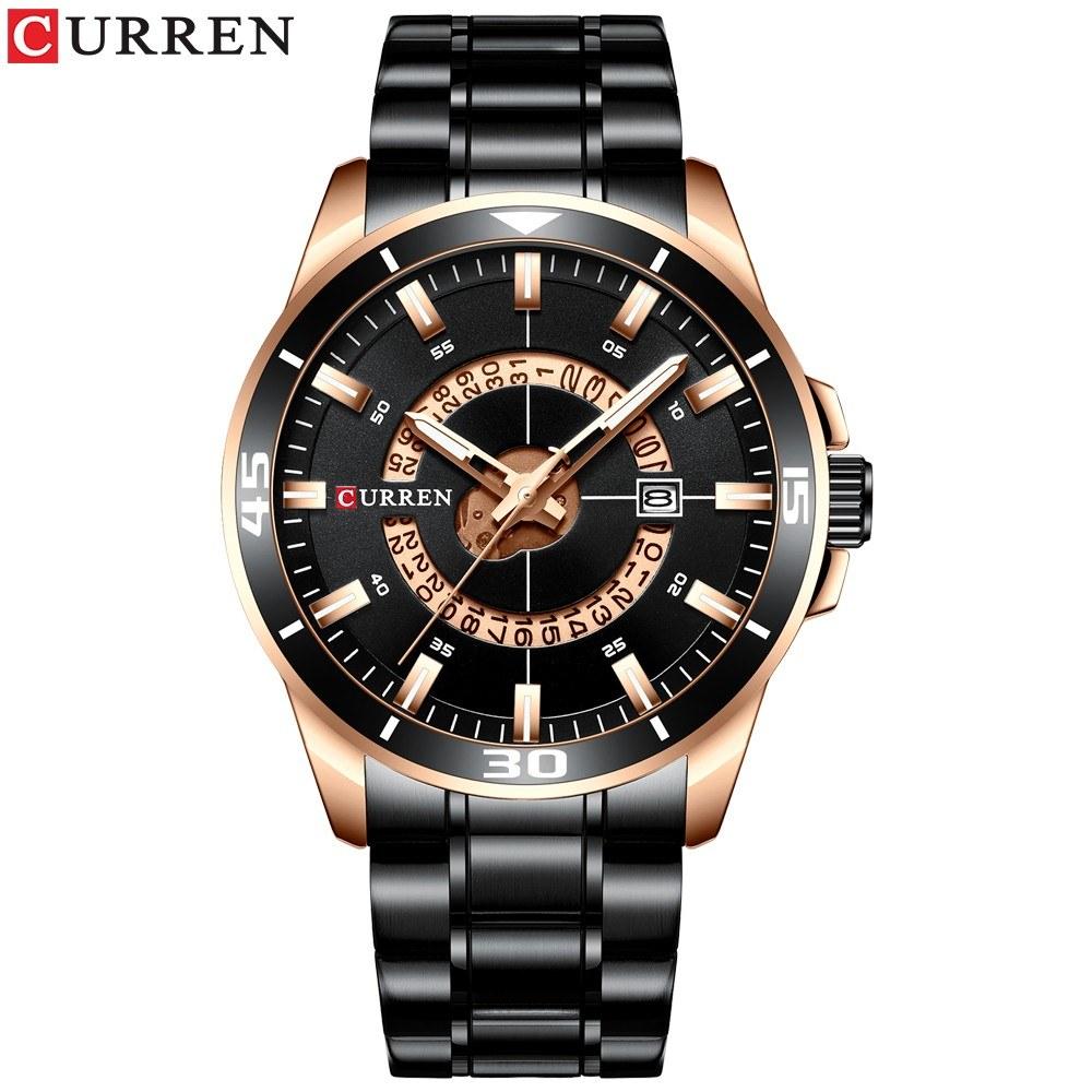 Curren Men Watches Waterproof Analog Quartz Watch Business Stainless Steel Band Calendar Wrist Watch