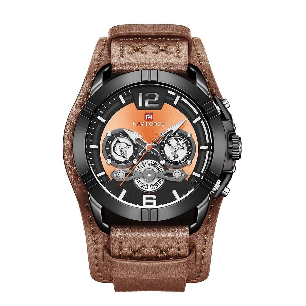 NAVIFORCE 9162 Man Quartz Watch 24 Hour Week Hardened Mineral Glass Leather Watchband Male Wristwatch