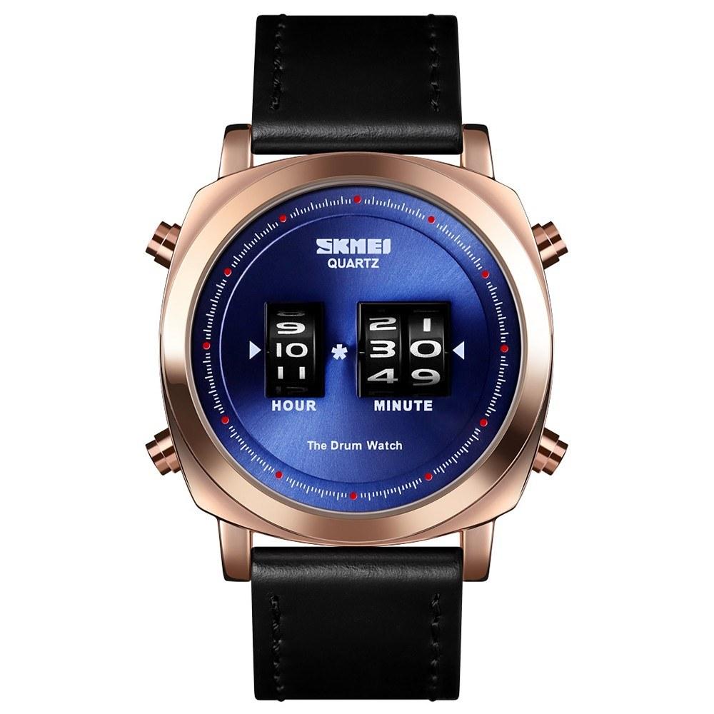SKMEI 1519 Man Quartz Watch Creative Rolling Time Display Sport Waterproof 3ATM Leather Watchband Male Wristwatch