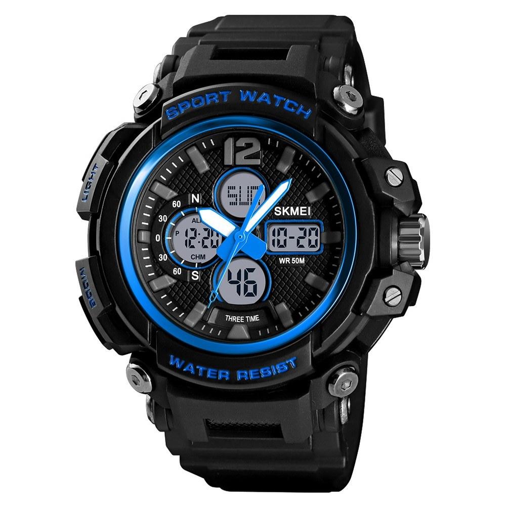 SKMEI 1498 Man Quartz Watch Sport Waterproof 5ATM 12/24 Hour Date Week Display Noctilucent Male Wristwatch
