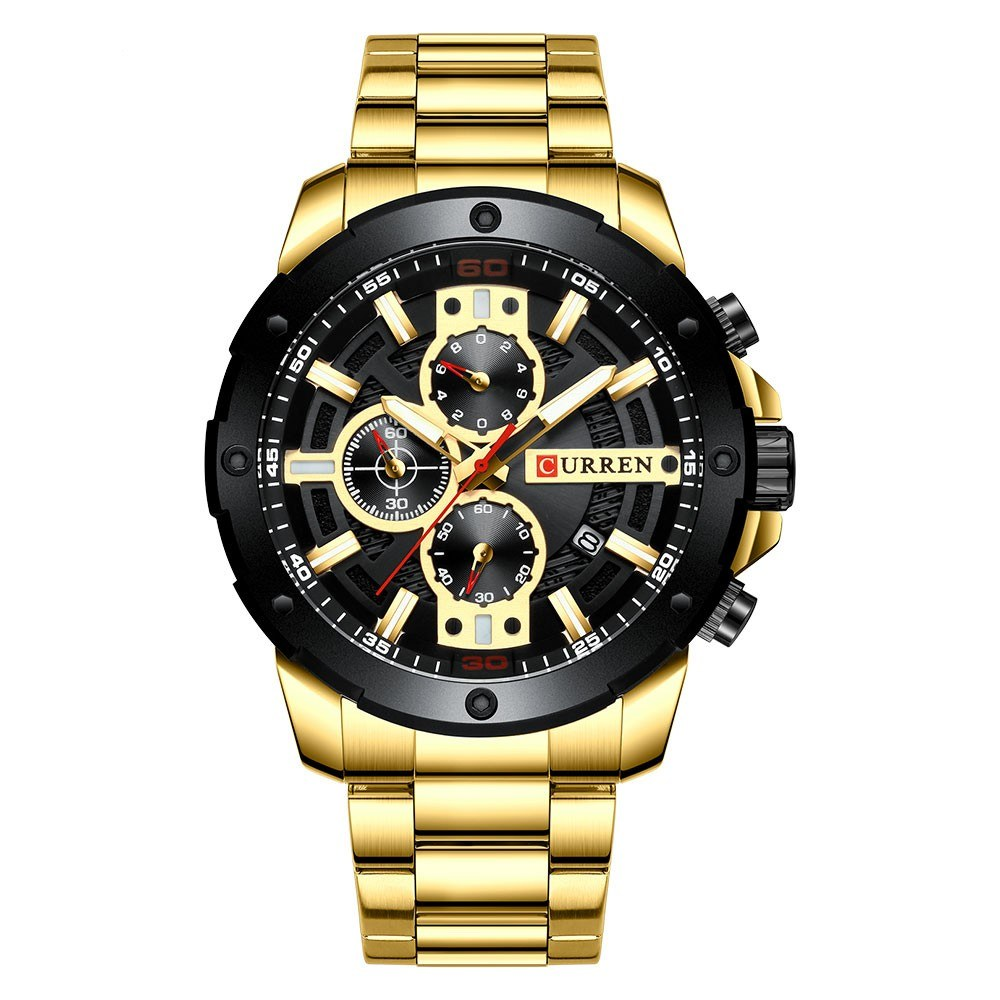 CURREN 8336 Man Quartz Wristwatch Luminous Date Display 1/10 Second Minute Second Chronograph Dial Stainless Steel Watchband Male Watch