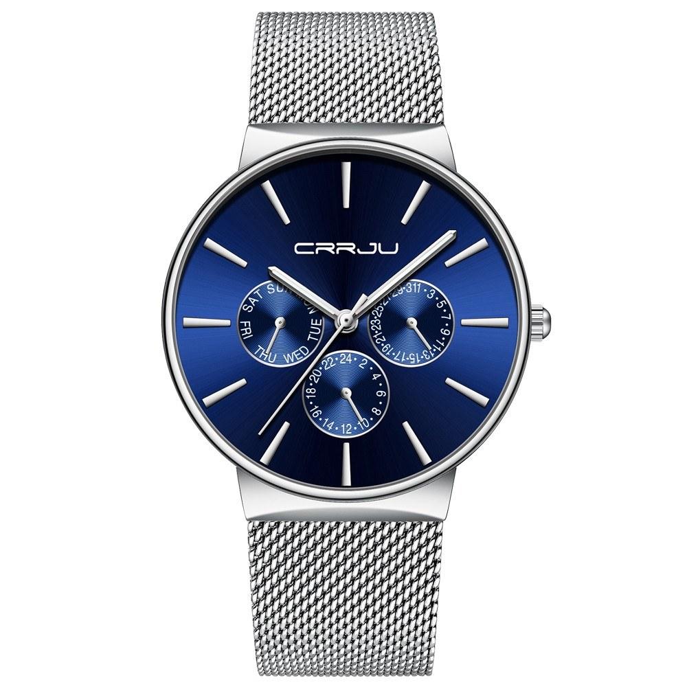 CRRJU 2155 Man Quartz Wristwatch Luminous Function Date Week 24 Hours Dials Display Stainless Steel Watchband Male Watch