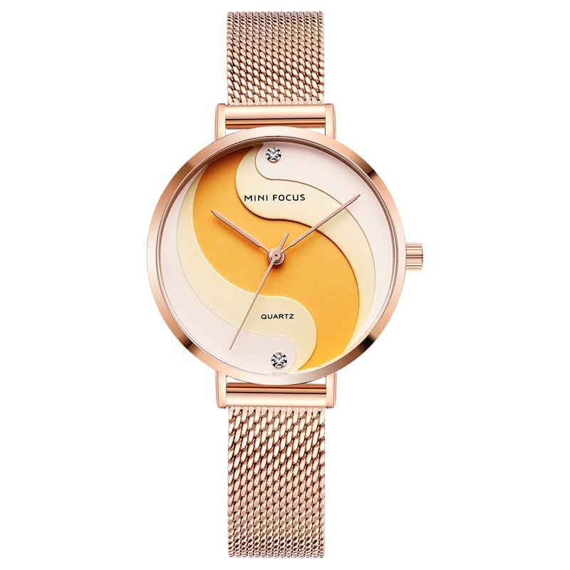 MINI FOCUS MF0291L Woman Quartz Wristwatch Creative Design Waterproof Alloy Case Noctilucent   Function Stainless Steel Strap Female Watch