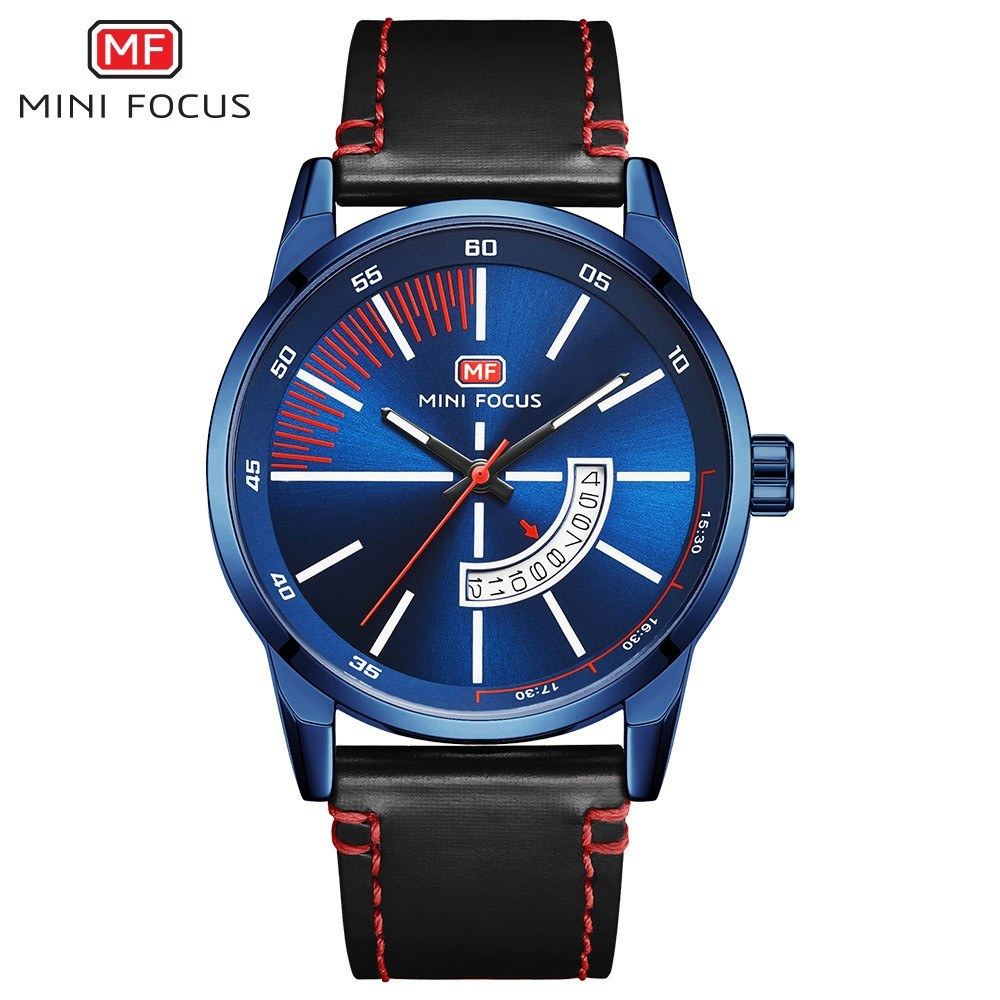 MINI FOCUS MF0132G Man Quartz Watch Calendar Noctilucent Waterproof Leather Band Male Wristwatch
