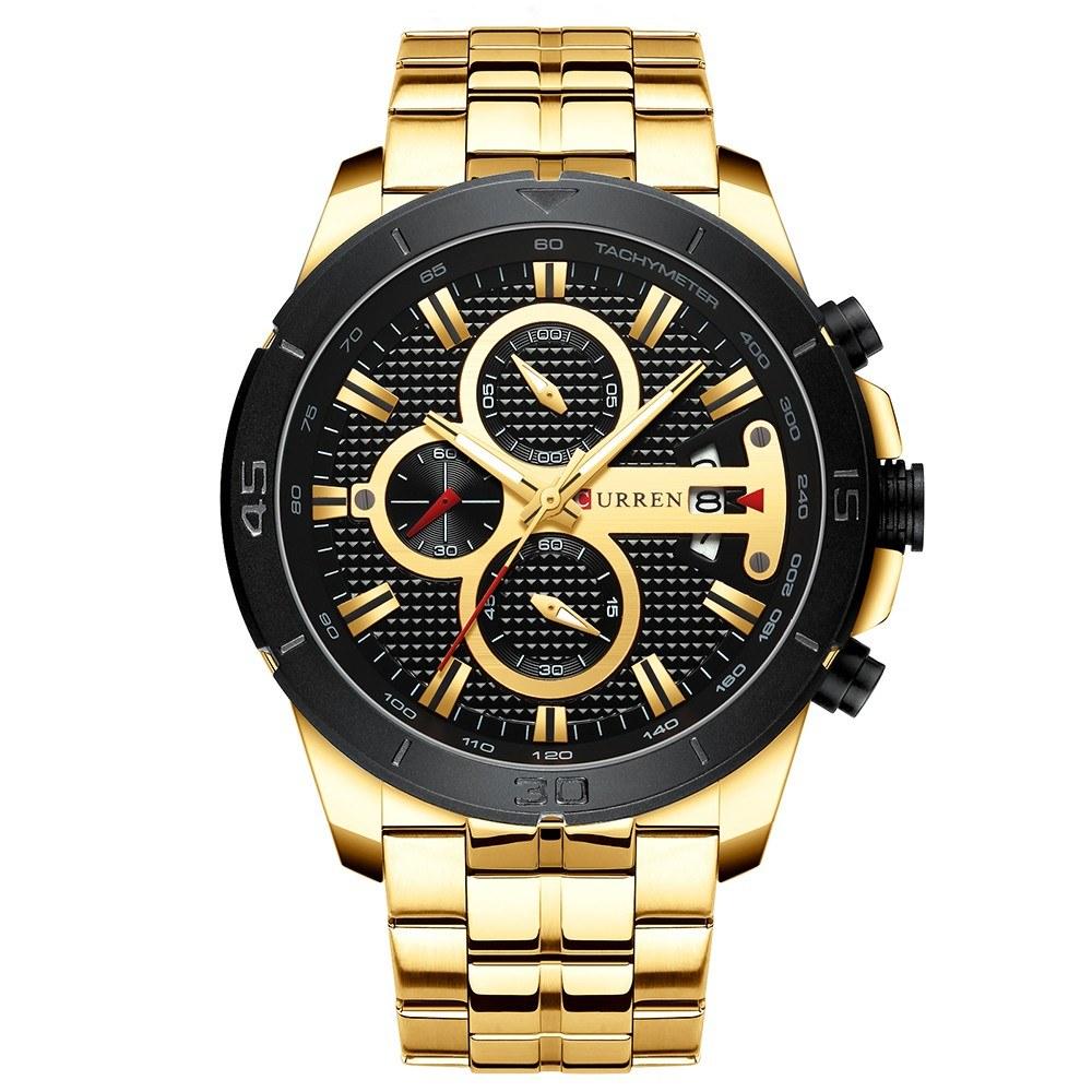 CURREN 8337 Man Quartz Watch Waterproof Outdoor Minute Hour Chronograph Calendar Dial Alloy Band Male Wristwatch