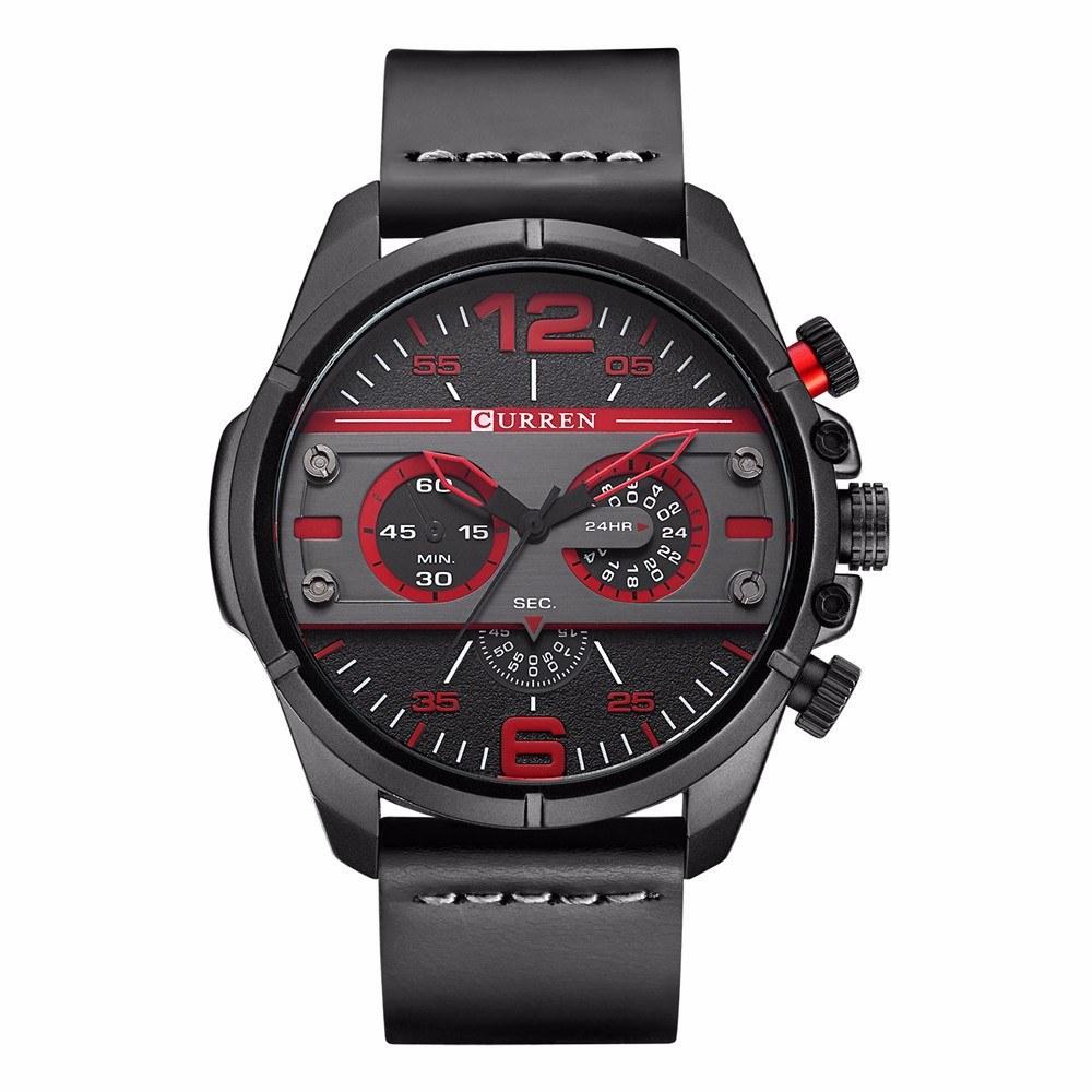 CURREN 8259 Quartz Man Watch Unique Fashion Sport Casual Brand Clock Army Military Business Original Movement Leather Waterproof Wrist Watch Relogio Masculino