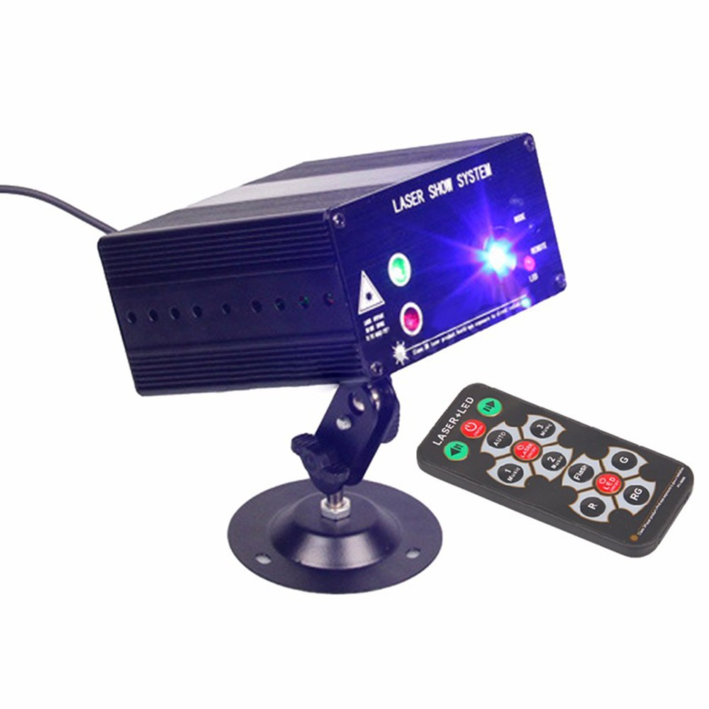 Mini LED Stage Light RGB 48 Patterns 4 Control Modes Sound Activated Projector Light with Remote Control for DJ Party Wedding Club Pub KTV Disco