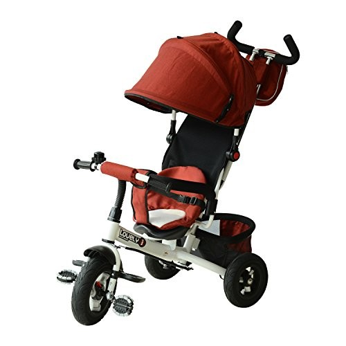 Outdoor 2-in-1 Lightweight Adjustable Convertible Tricycle Stroller - Red
