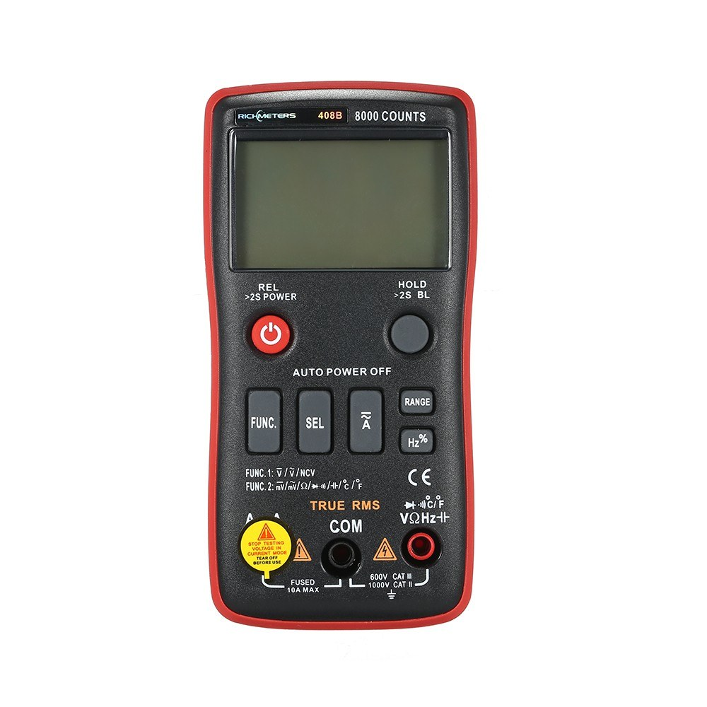 RICHMETERS RM408B True-RMS Digital Multimeter Button 8000 Counts With Analog Bar Graph Temperature Sensor Test AC/DC Voltage Ammeter Current Ohm