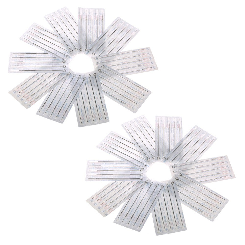100pcs Mixed Tattoo Needle Set 3RL 5RL 7RL 9RL 5M1 7M1 9M1 5RS 7RS 9RS Stainless Steel Round Liner Professional Permanent Tattoo Tool Kit