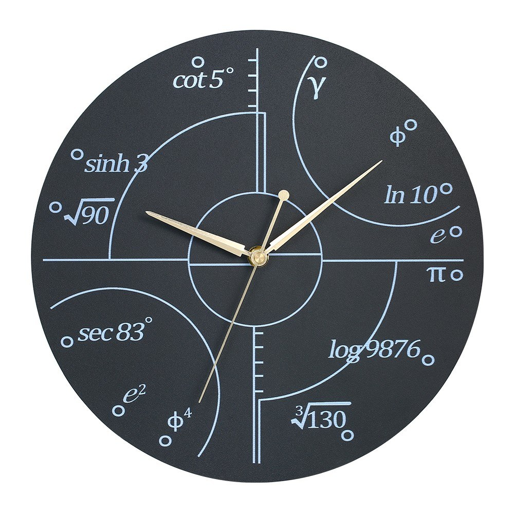 Creative Wall Clock Style Wooden Math Clock Battery Operated Decorative Round Silent Wall Clocks for Home Classroom Library Study Room (Black)