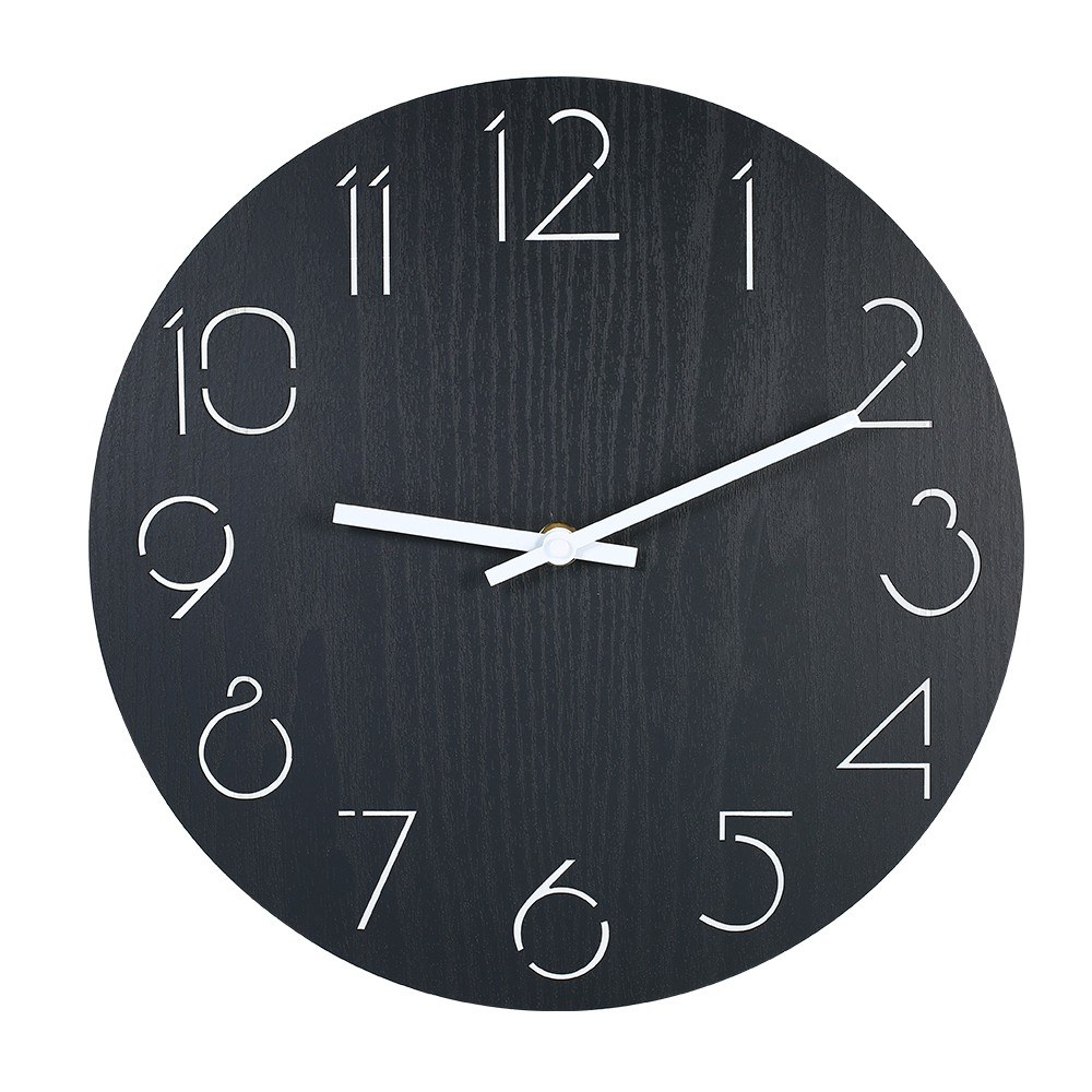 Wall Clock Style Wooden Clock Battery Operated Decorative Round Wall Clocks with Hollow Carving Numbers for Living Room Bedroom Office