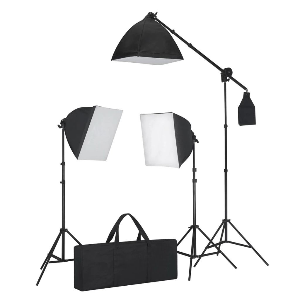 September 3 photo lamps, soft box 0,4 x 0,4 m., Stands