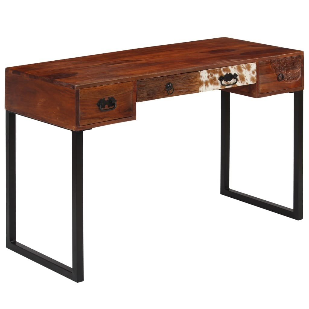 Sheesham Solid Wood and Genuine Leather Desk 117x50x76 cm