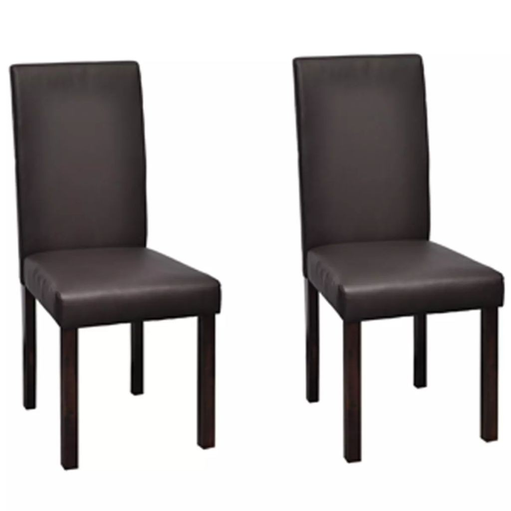 2 pcs Artificial Leather Dining Chairs and Brown Wood Frame