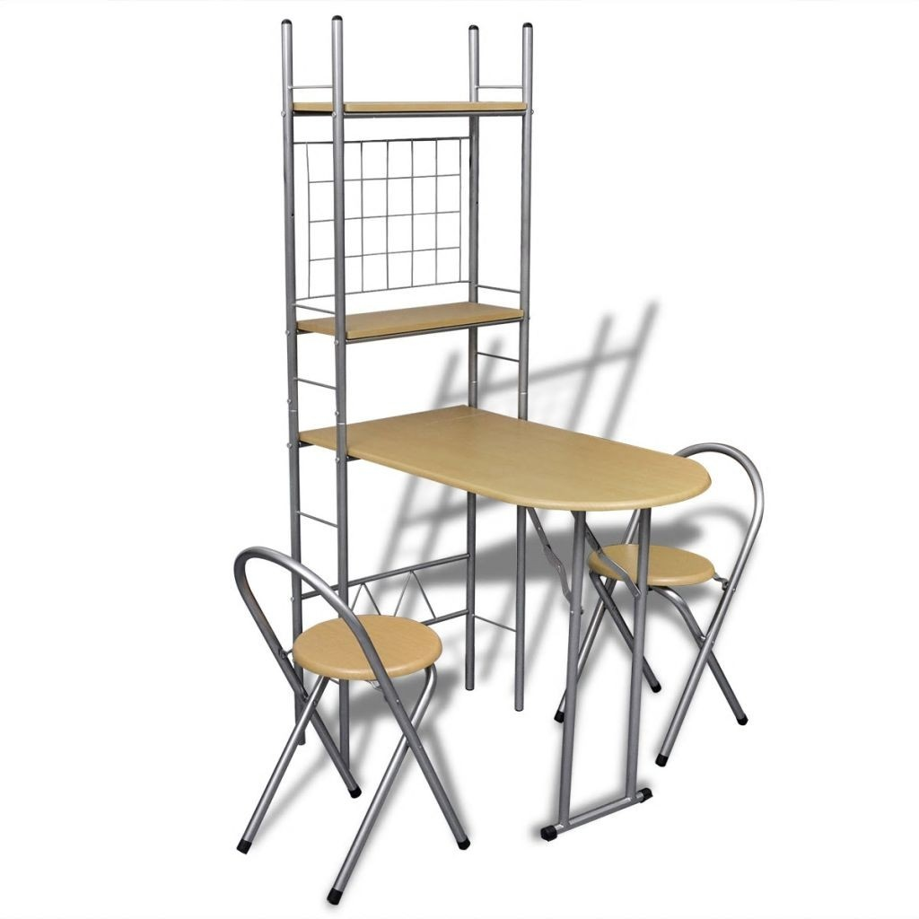 Folding Bar Set for breakfast with 2 stools
