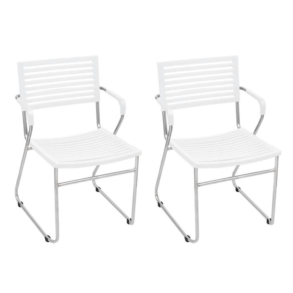 Chair with armrests Stackable White 2 pcs