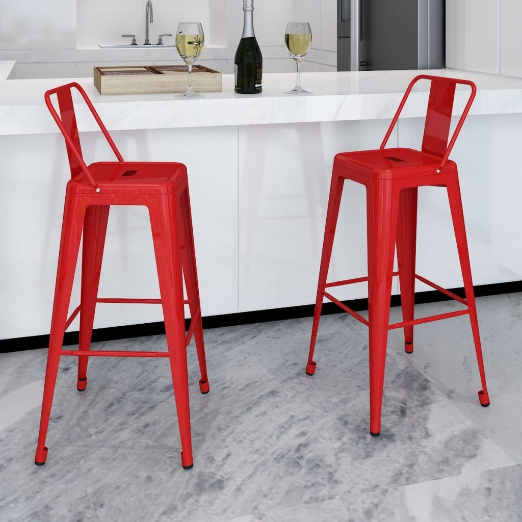 Square bar stools with back support 2 pieces red