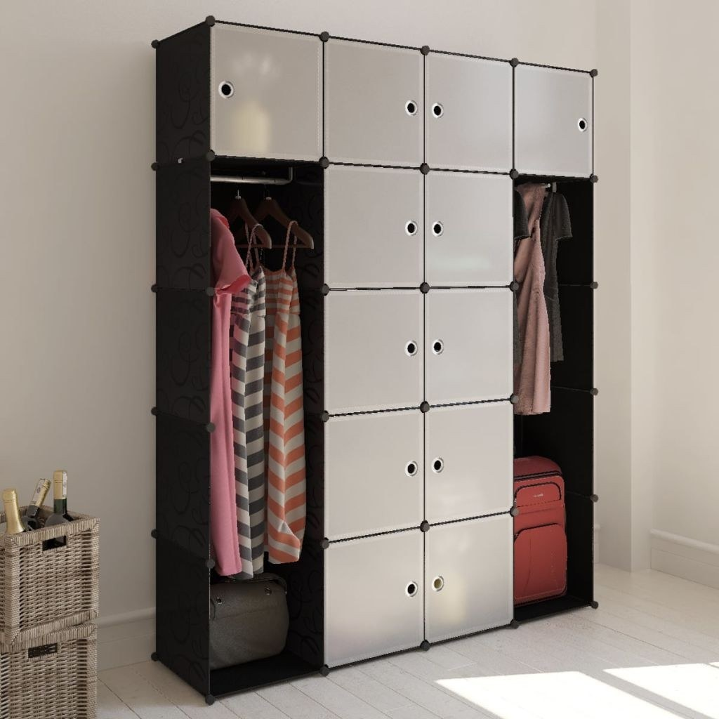 Shelf cabinet with 20 compartments black and white 37 x 150 x 190 cm