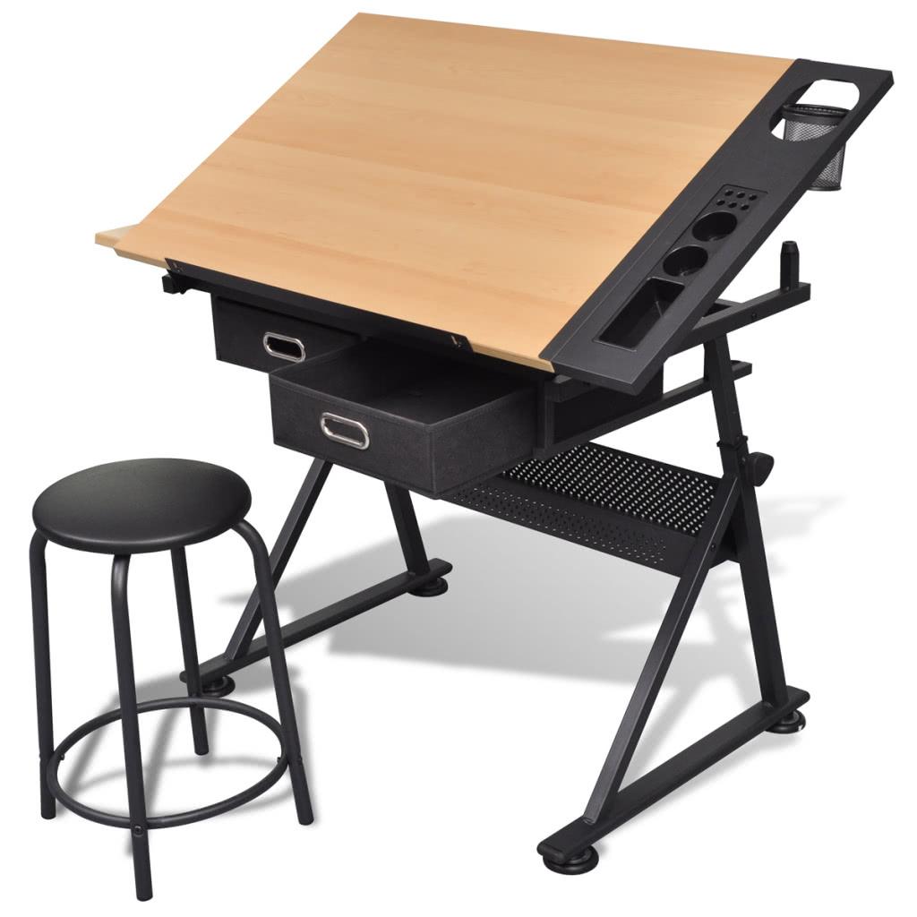 Mesa con tablero de dibujo inclinable y taburete mesa de dibujo