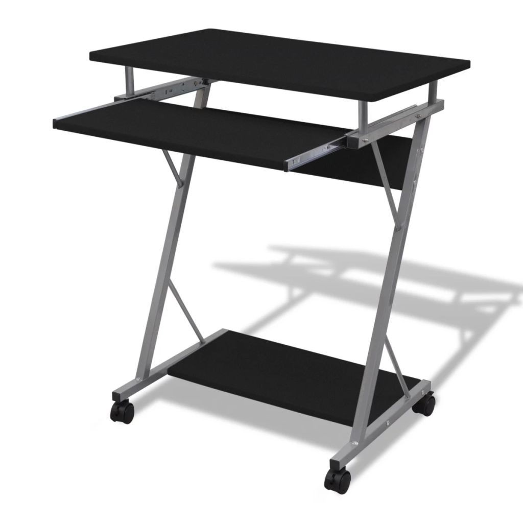 Computer desk with pull-out shelf black finish